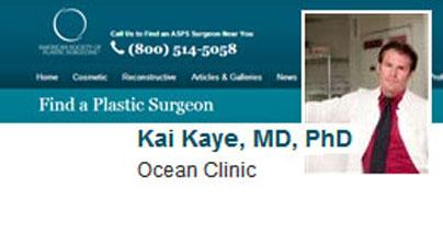Member of ASPS. Dr Kaye has been elected Member.